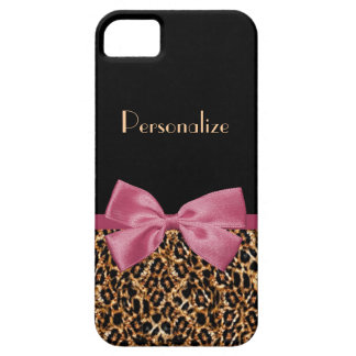 Luxury Gold Fur Leopard Print Mauve Bow With Name iPhone SE/5/5s Case
