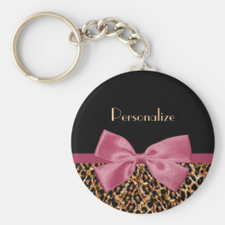 Luxury Gold Fur Leopard Print Mauve Bow With Name Keychain