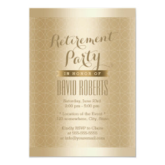 Luxury Gold Geo Pattern Retirement Party Card