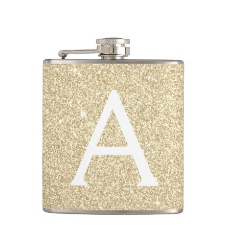 Luxury Gold Glitter and Sparkle Monogram Flask