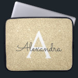 """Luxury Gold Glitter and Sparkle Monogram Laptop Sleeve<br><div class=""""desc"""">Luxury Gold Faux Glitter and Sparkle Elegant Monogram Case. This case can be customized to include your initial and first name.</div>"""