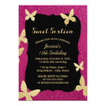 Luxury Gold Glitter Butterflies Sweet 16 Card