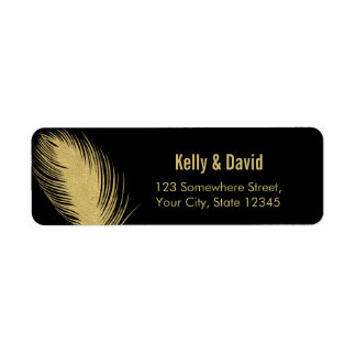 Luxury Gold Glitter Peacock Feather Modern Wedding Label