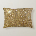 "Luxury Gold Glitter - Printed Image Decorative Pillow<br><div class=""desc"">A slightly bokeh style image of sparkling glitzy gold glitter.  Add a touch of glamor and luxury to your life!