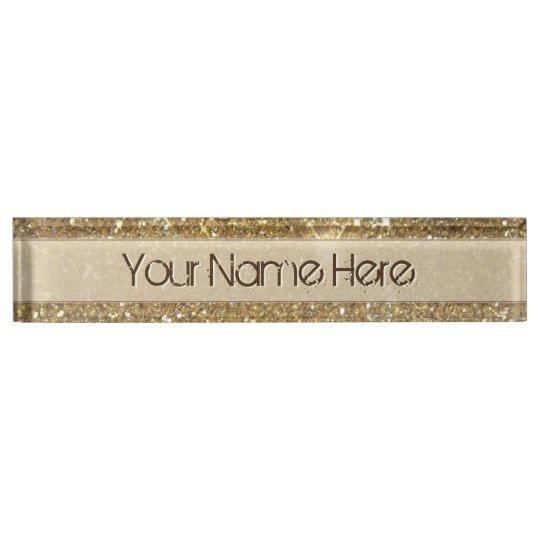 Luxury Gold Glitter Printed Image Name Plate Zazzle Com