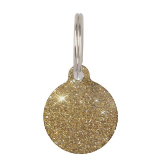 Luxury Gold Glitter - Printed Image Pet Name Tag