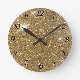 Luxury Gold Glitter - Printed Image Round Clock