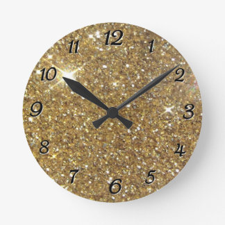 Luxury Gold Glitter - Printed Image Round Clock