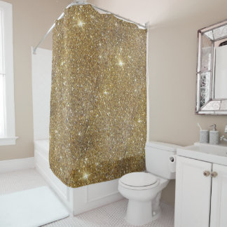 luxury gold glitter printed image shower curtain