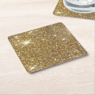 Luxury Gold Glitter - Printed Image Square Paper Coaster