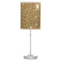 Luxury Gold Glitter - Printed Image Table Lamp