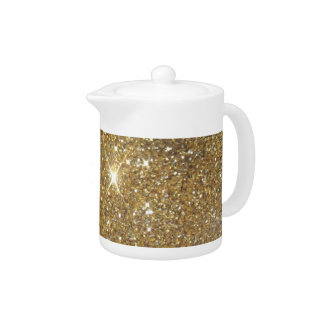 Luxury Gold Glitter - Printed Image Teapot