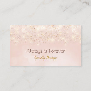 Luxury Gold Glitter Romantic Pink Bokeh Business Card