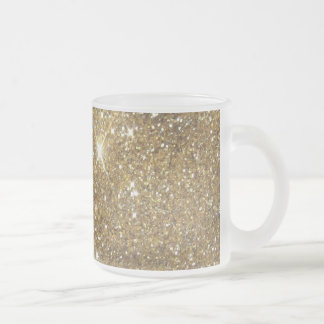 Luxury Gold Glitter Sparkle 10 Oz Frosted Glass Coffee Mug