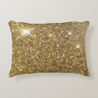 Luxury Gold Glitter Sparkle Accent Pillow