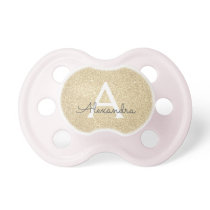 Luxury Gold Glitter & Sparkle Monogram Baby Pacifier