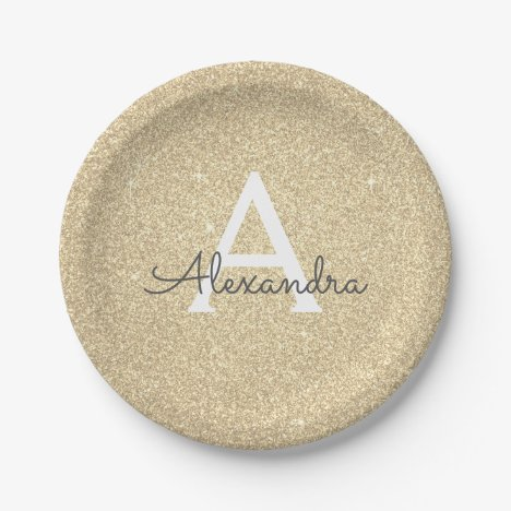 Luxury Gold Glitter & Sparkle Monogram Birthday Paper Plate