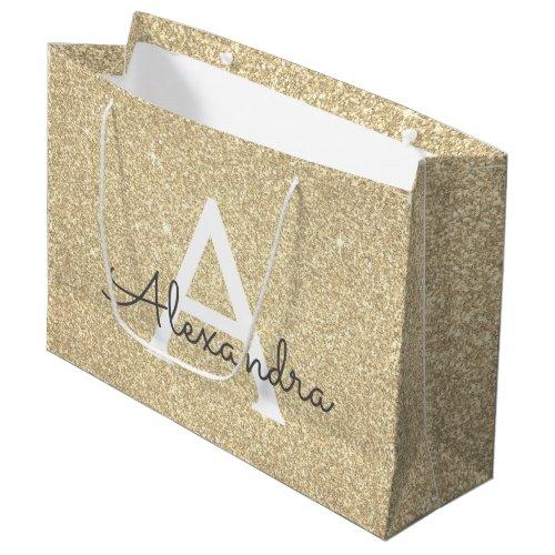 Luxury Gold Glitter & Sparkle Monogram Large Gift Bag