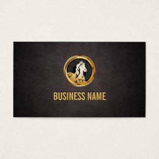Luxury Gold Horse Head Dark Leather Business Card