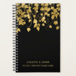 "Luxury Gold Leaves on Black Planner<br><div class=""desc"">Here&#39;s a beautiful and classy personalized notebook planner that features an image of a vine with gold leaves across the front and back cover. At the bottom front is your custom text in matching gold in two text fields. The leaves image and text are placed on a black background, which...</div>"