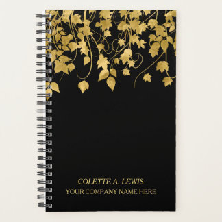 Luxury Gold Leaves on Black Planner