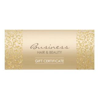 Luxury Gold Leopard Print Salon Gift Certificates Personalized Rack Card