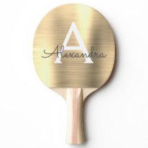 Luxury Gold Metallic Foil Monogram Name Initial Ping Pong Paddle