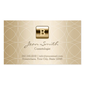 Luxury Gold Monogram Cosmetologist Double-Sided Standard Business Cards (Pack Of 100)