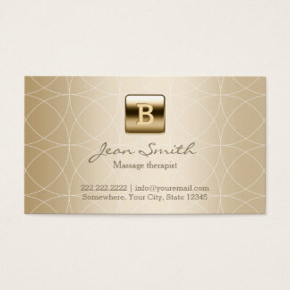 Luxury Gold Monogram Massage Therapy Business Card