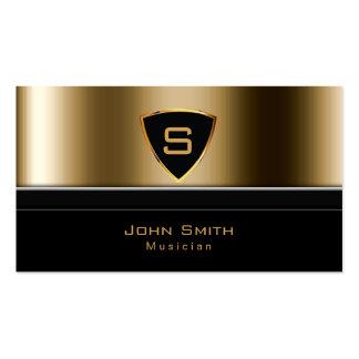 Luxury Gold Monogram Musician Business Card