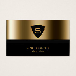 Luxury Gold Monogram Musician Business Card