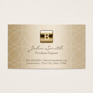 Luxury Gold Monogram Petroleum Engineer Business Card