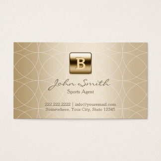 Luxury Gold Monogram Sports Agent Business Card