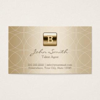 Luxury Gold Monogram Talent Agent Business Card