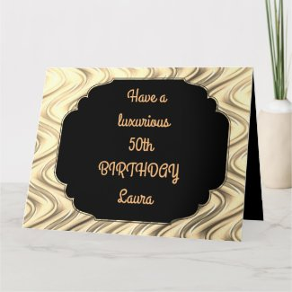 Luxury Gold Personalised 50th Birthday Card