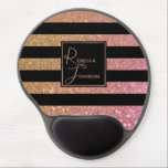 "Luxury Gold Pink Glitter Stripes - Gel Mousepad<br><div class=""desc"">Elegant and precious modern trendy glitter illustration with symmetrical black stripes. Glitter background contains a gold to light pink soft gradient; glamorous noble design for a luxurious look.</div>"