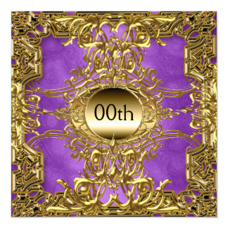 Luxury Gold Purple Any Birthday Party 5.25x5.25 Square Paper Invitation Card