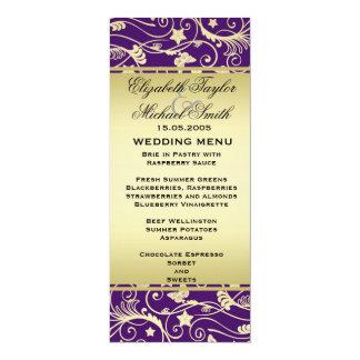 Luxury Gold Purple Floral Swirls Wedding Menu 4x9.25 Paper Invitation Card