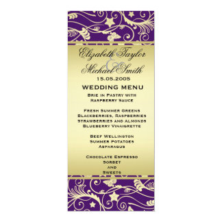 Luxury Gold Purple Floral Swirls Wedding Menu Card