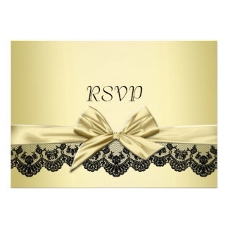 Luxury Gold Ribbon Black Lace RSVP card Cards