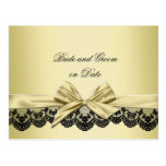Luxury Gold Ribbon Black Lace Save date card