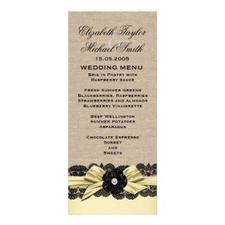 Luxury Gold Ribbon Burlap Lace Menu Custom Invitation