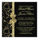Luxury Gold Ribbon Damask Black Shower Invite