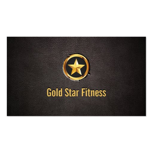 luxury gold star fitness leather business card zazzle. Black Bedroom Furniture Sets. Home Design Ideas