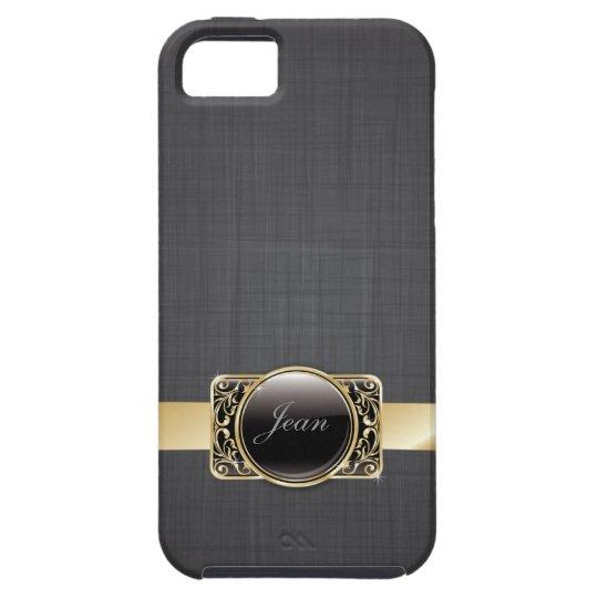 Luxury Gold Striped Black Fabric iPhone 5 Case