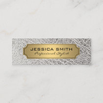 Luxury Gold White Leather Mini Business Card