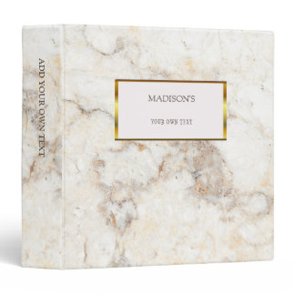 Luxury gold & white marble stone personal binder