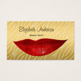 Luxury Gold Zebra Hot Red Lips Cosmetologist Business Card