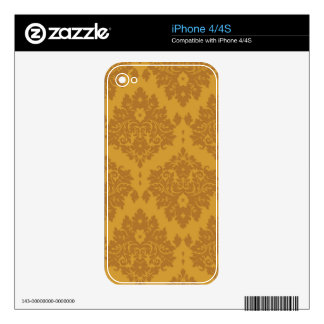 Luxury Golden Damask Decals For iPhone 4S