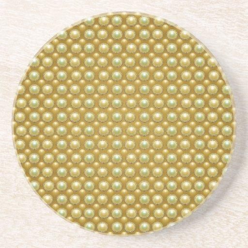 Luxury golden pearls drink coaster